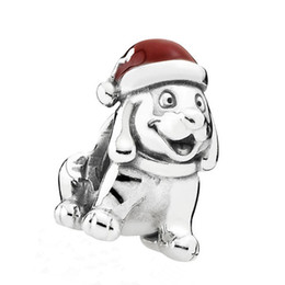 Wholesale Authentic Pandora Dog Charm - Certificated 100% 925 Sterling Silver Bead Authentic Jewelry Fit Pandora Charm Bracelets Puppy Dog Silver Charm with Red Enamel