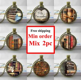 Wholesale Book Lovers - NS--0012 She is too fond of books alcott quote pendant necklace cat and Book lover jewelry librarian gift writer teacher book nerd