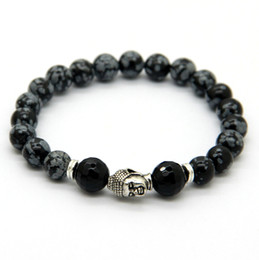 Wholesale Yoga Jewelry Silver - Hot Sale Jewelry Snowflake Obsidian Antique Silver Buddha Bracelet Yoga Bracelet New Products for Men's and Women's GIft