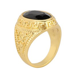 Wholesale Banded Onyx - Peraonality New Unisex Black Onyx Gem Carved Jewelry Simple Ring European And American For Wholesale Fashion