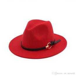Nueva moda fieltro sombreros de jazz Sombreros TOP clásicos para mujeres, mujeres Elegante, fieltro Sólido Sombrero de Fedora Banda de ala ancha plana, elegante Trilby Panamá Gorras desde fabricantes