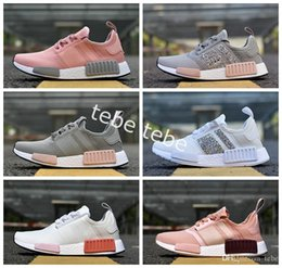 Wholesale R Shoes - 2017 NMD Runner NNM_R1 Monochrome R 1 Mesh Primeknit Triple White Black NMD R1 Womens Nmds Running Shoes Women Sports Sneakers 36-40