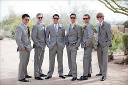 Wholesale Groom Handkerchief - 2015 Light Grey Groomsmen Suits One Button Wedding Suits Groom Best Man Real Wedding Original Tuxedos (Jacket+Pants+Tie+Vest+Handkerchief)