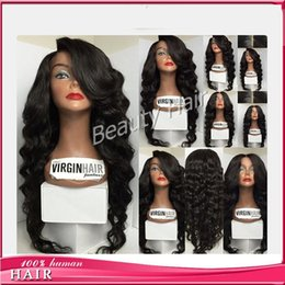 Wholesale Human Hair Bangs Frosted - Unique body wavy 7A glueless full lace human hair wigs lace front wig with bangs for balck women