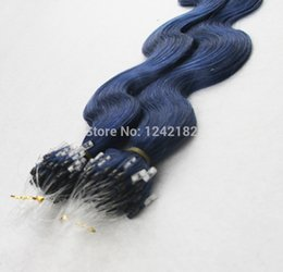 Wholesale Brazilian Body Wave Micro - HOT NEW !!!Brazilian Micro Loop Remy Hair Extensions,7A Micro Loop Ring Human Hair Extensions 100g Lot Blue Color,Free Shipping