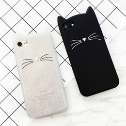 Wholesale Cute Cat Ear Iphone Case - 3D cute cartoon glitter beard cat Ears soft silicone case For iphone 5 5s se 6 6s 8 plus X rubber back cover