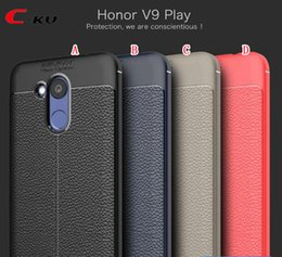 Wholesale Case V9 - Litchi Shockproof TPU Gel Soft Case For Huawei Honor V9 Lay OnePlus 5T 3 3T MOTO Z2 Force Defender Armor Anti Skid Phone Skin Cover 50pcs