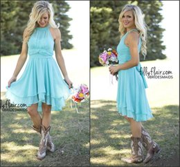 Wholesale Turquoise Chiffon Halter Dress - 2016 Turquoise Cheap Bridesmaid Dresses Halter Neck Pleated Chiffon A Line Knee Length Spring Country Style Maid of Honor Gowns Under $80