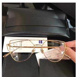 Wholesale Female Popping - Luxury Women Sunglasses UV Protection Brand Designer Sunglass Plain Lens Metal Frame with case POP luxurious Eyewear Female Eyeglasses HOT
