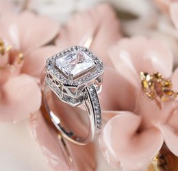 Wholesale Rectangle Crystal Ring - Luxury!!! 18K White Gold Plated Top Class Austrian Rectangle Clear Crystal Lady Wedding Ring Wholesale 5PCS