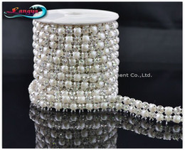 Wholesale Crystal Sew 5mm - LY11929, NEW ARRIVAL! Rhinestone mesh chain,sew on 5mm pearl and crystal beads in claw,MOQ:1 roll, rhinestone trim Free shipping