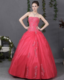 Wholesale Organza Wraps For Strapless Dresses - Water Melon Quinceanera Dresses Sweetheart Embroidery Vestidos de Festa Back Lace Up ball gown Prom Gowns 2015 For Sweet 16 years