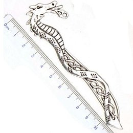 Wholesale Wholesale School Suppliers - bookmarks designs metal antique silver east dragon new diy fashion jewelry craft components school office wedding suppliers 115mm 20pcs