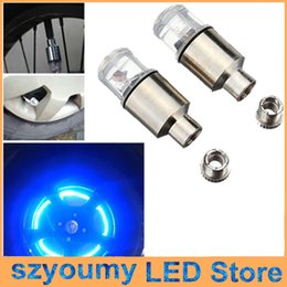 Wholesale Valve Caps Blue - High Quality Bike Bicycle Cycling Car Auto Tyre Tire Wheel Neon Valve Cap LED Light Lamp Bulb Red Blue