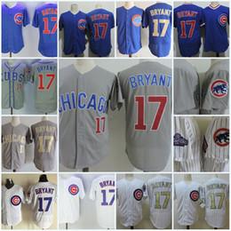 Wholesale kris bryant - Mens Kris Bryant 2017 Gold Program Flex base game jersey stitched white blue gray #17 Kris Bryant Cool base baseball Jersey S-3XL