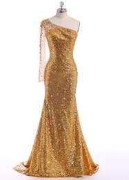 2016 Robes De Soirée Pageant Robes Robes De Soirée Robes Formelles Cristal Custom Made robes De Noche Élégant Une Épaule Paillettes Or Classique ? partir de fabricateur