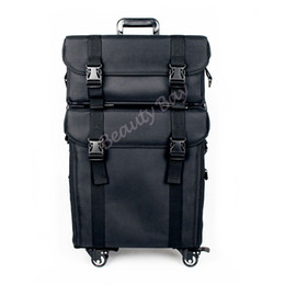 Wholesale Cosmetic Bags Train Cases - Nylon Makeup Trolley Case With 4pcs Rolling Wheels Cosmetic Train Case With Drawers And Shoulder Tape travel toiletry bag