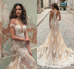 Wholesale China Gold Chart - Sexy Berta Mermaid Wedding Dresses China Lace Applique Off Shoulder Sweep Train Illusion Custom Made Bridal Gowns