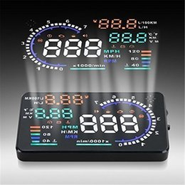 "Wholesale Play Security - A8 5.5"" Car HUD Head Up Display Vehicle-mounted Security System OBD2 Interface Plug Play KM h MPH Speeding Warning"