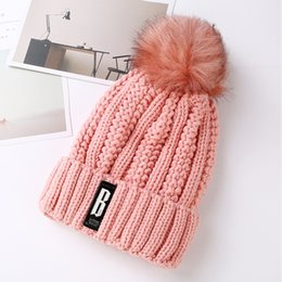Wholesale Korean Ladies Winter Top - Korean Winter Outdoor Plus Cashmere Woolen Hat Lady B Thickened Letter Ear Hair Ball Knitted Hat Warm Tide