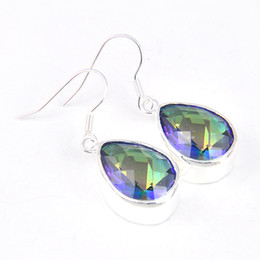 Wholesale Mystic Fire Jewelry - 6 Pairs Luckyshine Classic Drop Rainbow Fire Mystic Topaz Gems 925 Sterling Silver Plated Drop Earrings Russia Canada Drop Earrings Jewelry