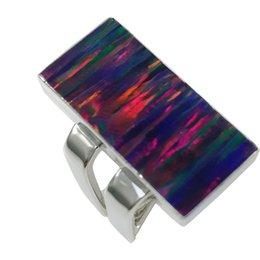 Wholesale Silver Square Bezel Ring - 925 sterling silver square opal ring with mingled square shank in various of attractive color for R383