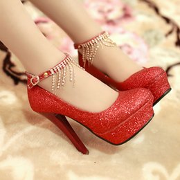 Wholesale Cheap Lace Up Pumps - 2016 Cheap Fashion Bling Sequins Crystals Wedding Shoes High Heel Bridal Shoes With Buckle Strap Chains Prom Women Shoes Red Gold Silver
