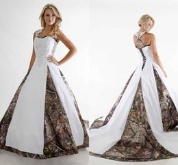 Wholesale winter white camouflage - 2017 New Cheap Camo Wedding Dresses Lace Straps Criss Cross Backless White Camouflage Ball Gown Bridal Dress Chapel Train Custom Made