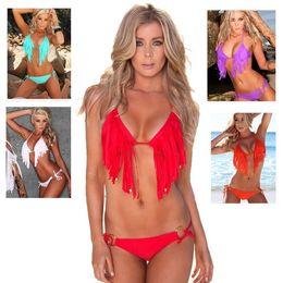 Wholesale Tassel Halter Sexy Bikini Swimwear - Hot Sale Low Waist Padded Tassel Bikini Halter Push Up 2 Piece Women Swimwear Sexy Slim Swimsuit Plus Size Maillot De Bain