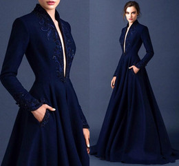Wholesale Ellie Saab Evening Gowns - Dark Blue Modest Evening Dresses 2015 Embroidery Long Sleeve Ruched Satin Ellie Saab Dress Evening Wear Full Length Appliques Formal Gowns