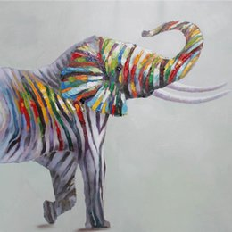 Wholesale Hand Painted Elephant - Animal Colorful Elephant Hand-painted Oil Painting on Canvas Mural Art Picture for Office Home Living Bedroom Wall Decoration