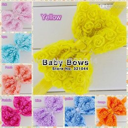 Wholesale Glued Hair Bows - 20pcs lot 4.7'' Large Chiffon Rose Flower Bows Rosette Hairbows Glued With Baby Elastic Headband Hair Accessories Free Shipping