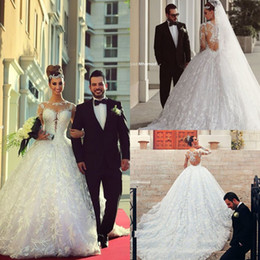 Wholesale Brazilian Neck - 2015 Brazilian Long Sleeves Lace Wedding Dresses Sfani Sheer High Neck A Line Cathedral Train Ball Gown Wedding Dress Bridal Gowns BO7084