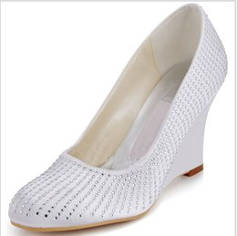 Wholesale Sexy Wedge Shoes Size 11 - 2016 White Wedding Shoes Red Bridal Shoes Crystal Wedges Cheap Modest Custom Made Plus Size Slip On Party Evening SHoes Sexy Bridal Shoes