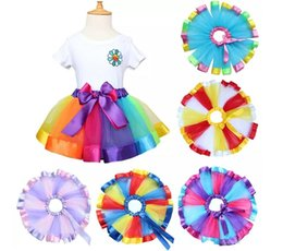 Wholesale orange dancewear - Children Rainbow Tutu Dresses New Kids Newborn Lace Princess Skirt Pettiskirt Ruffle Ballet Dancewear Skirt Holloween Clothing