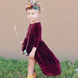 Wholesale Girls Long Tail Dress - Ins Dresses for baby girl Pleuche High-low tail sweap dress Long sleeve Wine red Kids clothing 2017 Autumn spring