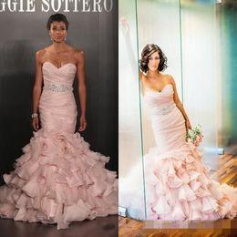 Wholesale Strapless Dress Puffy Skirt - Mermaid 2016 Blush Pink Wedding Dress Long Puffy Sweetheart Sleeveless Organza RUffles Skirt Bridal Gowns Court Train