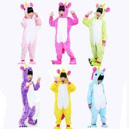 Wholesale Girls Pajamas Velvet - 4-12Y Children Girls Boys Winter unicorn Flannel Animal pajamas For Kids Clothes Cute Long Sleeve pyjamas Hooded Romper Sleepwear