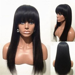 Hermosas pelucas para mujeres negras online-100% human virgin hair full lace wig 10-24'' inches long hair lace front wig with beautiful bangs for black woman swiss lace cap