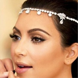 Wholesale Headpiece Jewelry Chain - Czech Sparkly Crystal Women Forehead Headband Head Chain Headpiece Rhinestone Teardrop Tiara Vines Bridal Wedding Hair Jewelry