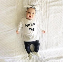 Wholesale Baby Girl Clothes Patterns Free - baby girls clothes letter Pattern long sleeve t shirt + pants 2pcs suit newborn baby boy girl clothing set hight quality free shipping