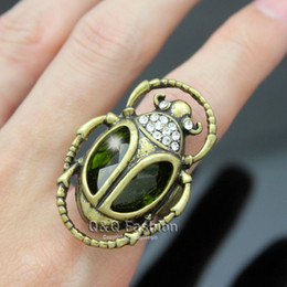 Wholesale Gold Plated Emerald Rings - Cleopatra Retro Gold Egyptian khepri Scarab Beetle Emerald Stone Finger Ring Jewelry Free Shipping