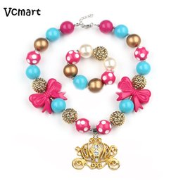 Wholesale Girls Chunky Necklace - Wholesale- Vcmart Pumpkin Carriage Pendant Princess Girls Bubblegum Necklace Set Kids Bow Chunky Necklace Bracelet Set For Party Favor