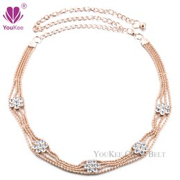 Wholesale Waist Chain Designs - New Arrival Flower Design Clear Rhinestone Chain Belt Gold Waist Belt Wedding Women Belt Cinto Feminino (BL-663) YouKee Belt