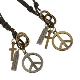 Wholesale Couple String - Peace Sign Pendants Leather Necklaces for Men Fashion Jewelry Couples Retro Leather Braided Strings Hand-knit Punk Infinity Necklaces