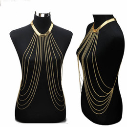 Wholesale Necklace Chain Body - Gold Sexy Body Chain Women Necklaces&Pendants Tassel Alloy Punk Long Necklace 2015 New Designer Female Fashion Jewelry