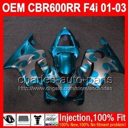 Wholesale Honda Cbr F4i Lights Fairings - OEM For HONDA Light blue CBR600 F4i 01 02 03 CBR 600 F4i FS 600F4i L72323 Injection silver flames 01-03 CBR600F4i 2001 2002 2003 Fairing