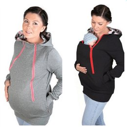 Wholesale Cheap Baby Sweaters - 2017 Fashion Christams gift Maternity Maternity Jacket Multi-functional Kangaroo Sweater Jacket Baby Wear Coat For morther Cheap sale