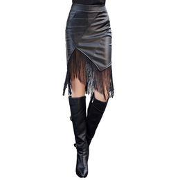 Wholesale Casual Knee Length Skirts - New Fashion Women PU Leather Skirt Elastic High Waist Leather Fringe Skirt Sexy Bodycon Pencil Skirt Black