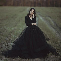 Wholesale Black Gothic Tutu - 2018 Cheap Modest Black Country Wedding Dresses Ball Gown V Neck Long Sleeve Puffy Tutu Simple Gothic Bridal Garden Outdoor Wedding Gowns